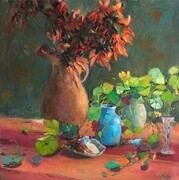 Floral Still Life with Orange Water Jug
